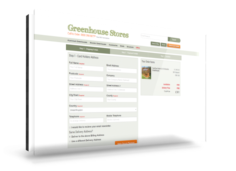 Greenhouse Stores website mockup